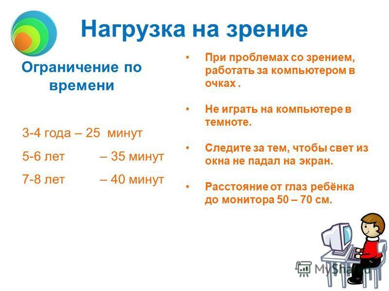 Нагрузка на зрение 3-4 года – 25 минут 5-6 лет– 35 минут 7-8 лет– 40 минут Ограничение по времени При проблемах со зрением, работать за компьютером в очках. Не играть на компьютере в темноте. Следите за тем, чтобы свет из окна не падал на экран. Расс