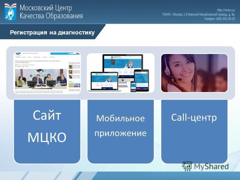 Регистрация на диагностику Сайт МЦКО Мобильное приложение Call-центр