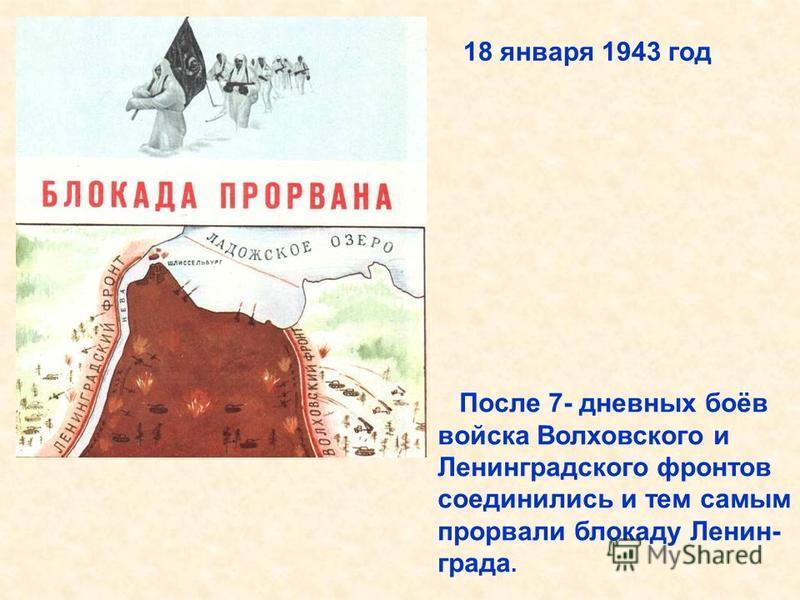 После 7- дневных боёв войска Волховского и Ленинградского фронтов соединились и тем самым прорвали блокаду Ленин- града. 18 января 1943 год После 7- дневных боёв войска Волховского и Ленинградского фронтов соединились и тем самым прорвали блокаду Лен