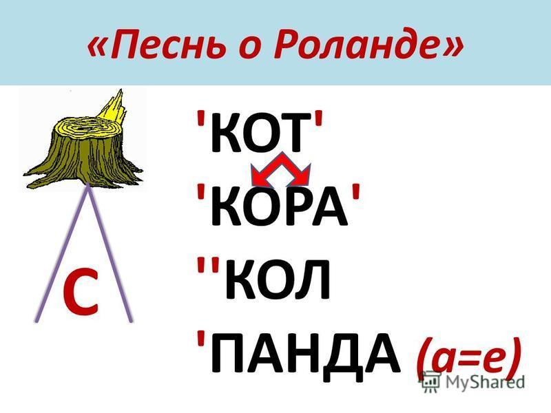 «Песнь о Роланде» 'КОТ' 'КОРА' ''КОЛ 'ПАНДА (а=е) С