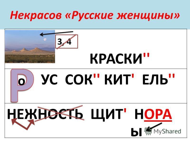 Некрасов «Русские женщины» КРАСКИ'' УС СОК'' КИТ' ЕЛЬ'' НЕЖНОСТЬ ЩИТ' НОРА 3, 4 о ы