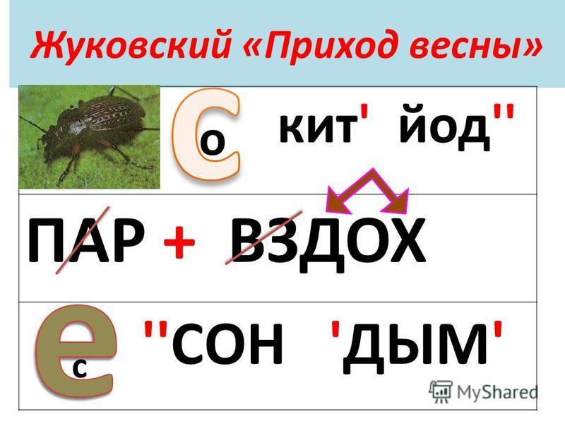 Жуковский «Приход весны» кит' йод'' ПАР + ВЗДОХ ''СОН 'ДЫМ' о с