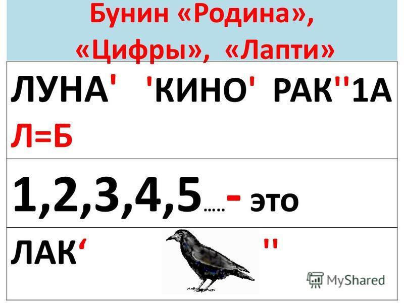 Бунин «Родина», «Цифры», «Лапти» ЛУНА' 'КИНО' РАК''1А Л=Б 1,2,3,4,5 ….. - это ЛАК ''