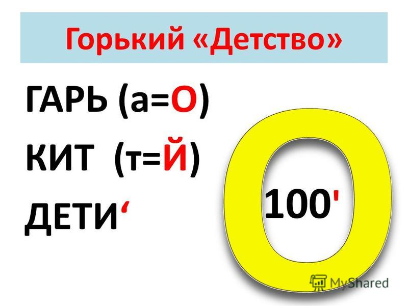 Горький «Детство» ГАРЬ (а=О) КИТ (т=Й) ДЕТИ 100 '