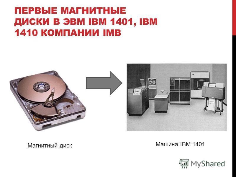 ПЕРВЫЕ МАГНИТНЫЕ ДИСКИ В ЭВМ IBM 1401, IBM 1410 КОМПАНИИ IMB Магнитный диск Машина IBM 1401
