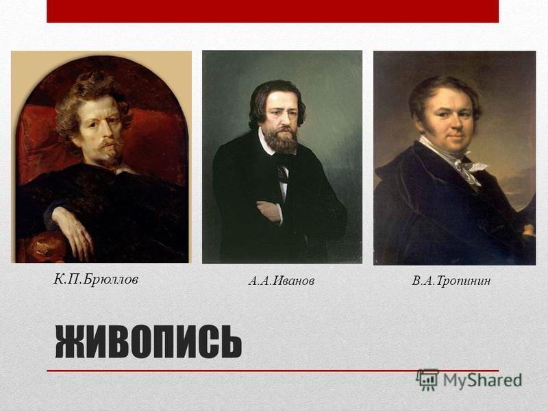 ЖИВОПИСЬ К.П.Брюллов А.А.ИвановВ.А.Тропинин