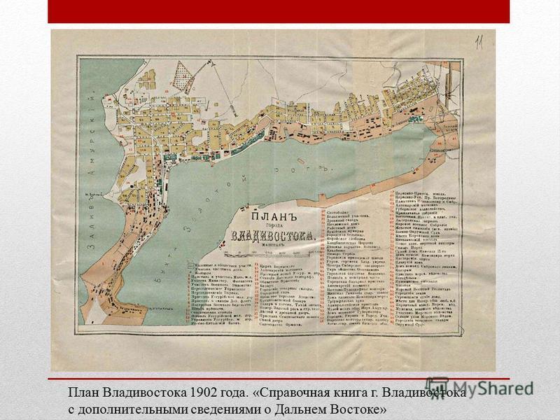 План Владивостока 1902 года. «Справочная книга г. Владивостока с дополнительными сведениями о Дальнем Востоке»