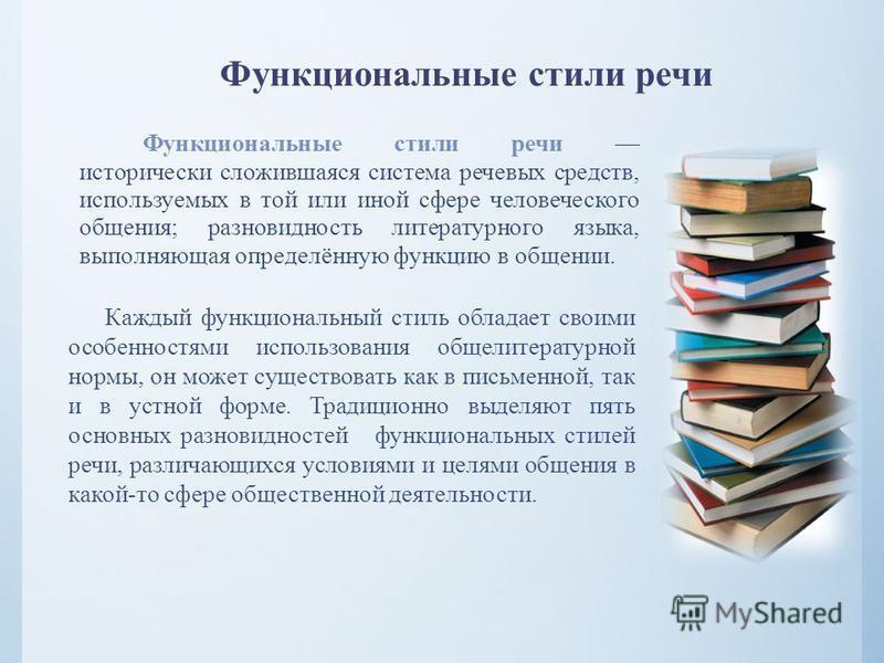 Функциональные стили речи Функциональные стили речи исторически сложившаяся система речевых средств, используемых в той или иной сфере человеческого общения; разновидность литературного языка, выполняющая определённую функцию в общении. Каждый функци