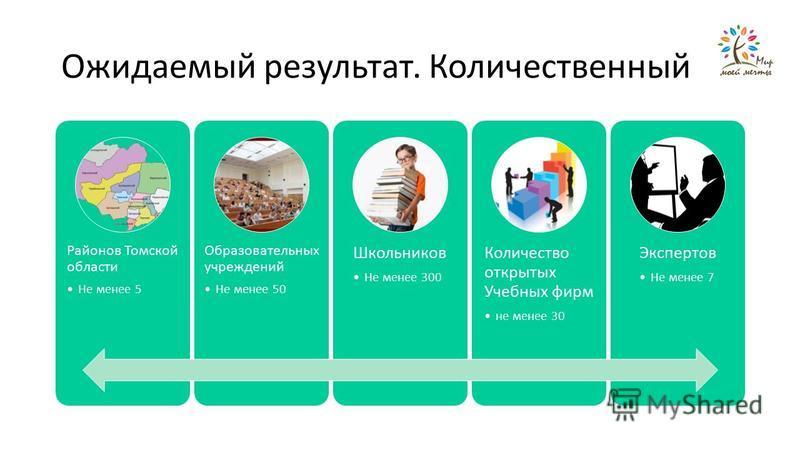 Ожидаемый результат. Количественный Районов Томской области Не менее 5 Образовательных учреждений Не менее 50 Школьников Не менее 300 Количество открытых Учебных фирм не менее 30 Экспертов Не менее 7