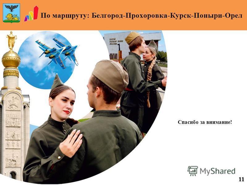 По маршруту: Белгород-Прохоровка-Курск-Поныри-Орел 11 Военно-исторический музей, г. Орел Спасибо за внимание!