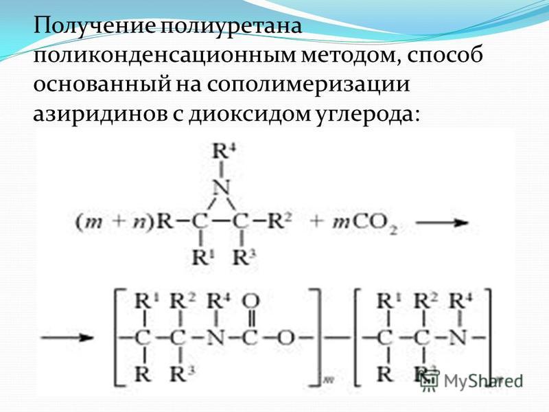 Получение полиуретана поликонденсационным методом, способ основанный на сополимеризации азиридинов с диоксидом углерода: