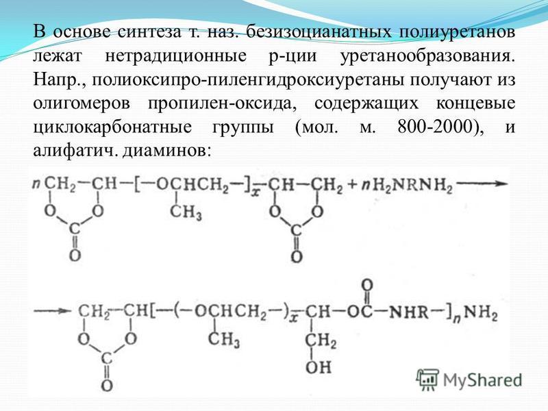 В основе синтеза т. наз. безизоцианатных полиуретанов лежат нетрадиционные рации уретанообразования. Напр., полиоксипро-пиленгидроксиуретаны получают из олигомеров пропилен-оксида, содержащих концевые цикло карбонатные группы (мол. м. 800-2000), и ал