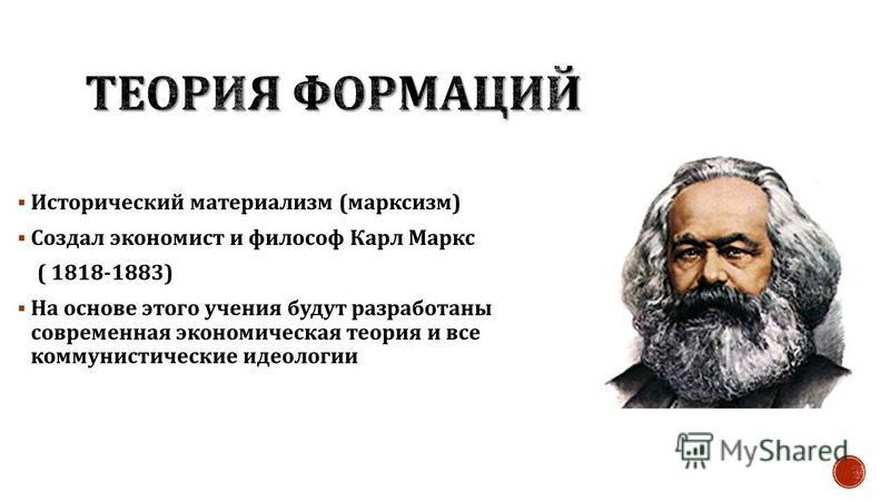 Исторический материализм ( марксизм ) Создал экономист и философ Карл Маркс ( 1818-1883) На основе этого учения будут разработаны современная экономическая теория и все коммунистические идеологии