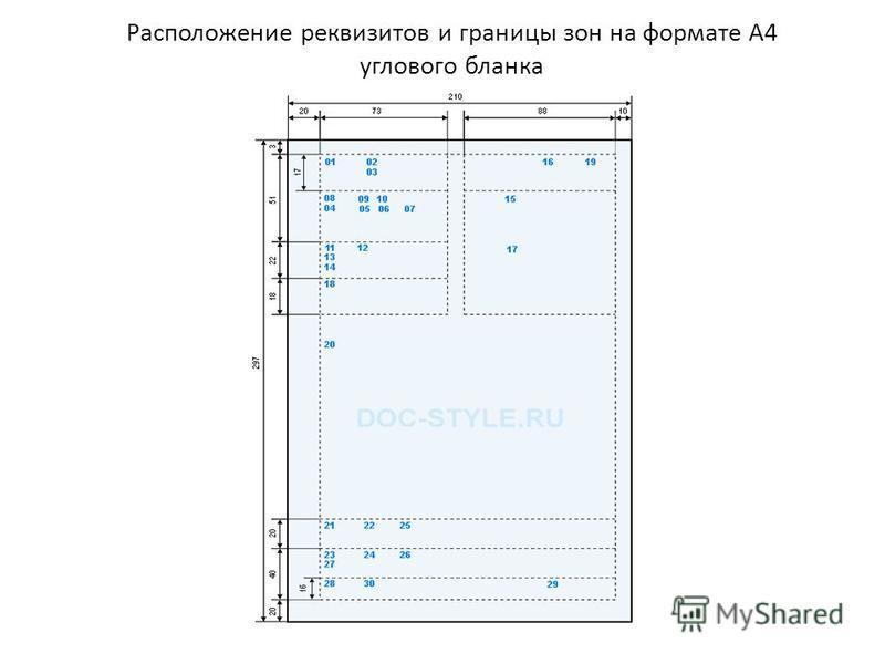 Расположение реквизитов и границы зон на формате А4 углового бланка