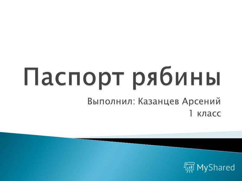 Выполнил: Казанцев Арсений 1 класс