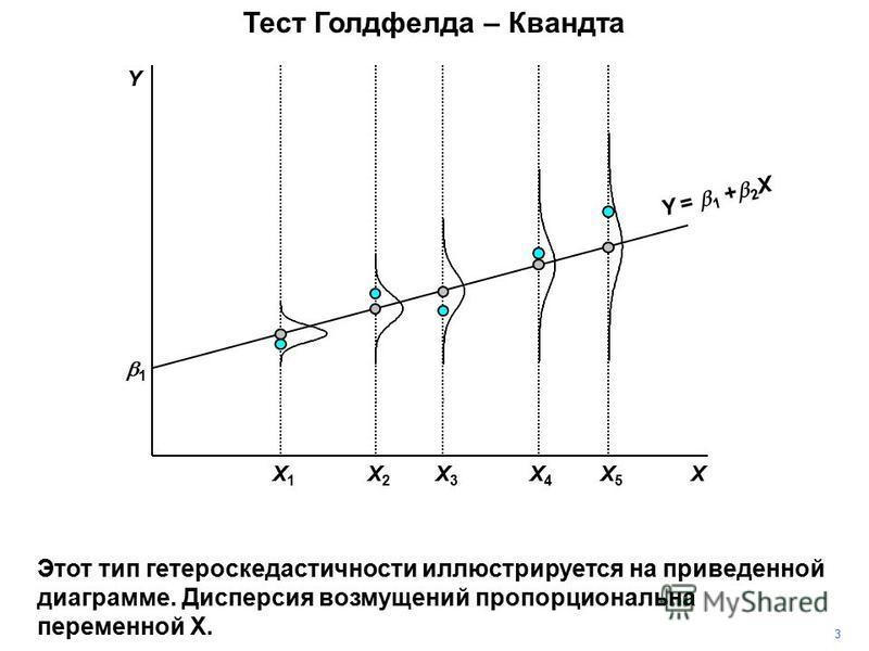X3X3 X5X5 X4X4 X1X1 X2X2 1 X Y = 1 + 2 X Y 3 Этот тип гетероскедастичности иллюстрируется на приведенной диаграмме. Дисперсия возмущений пропорциональна переменной Х. Тест Голдфелда – Квандта