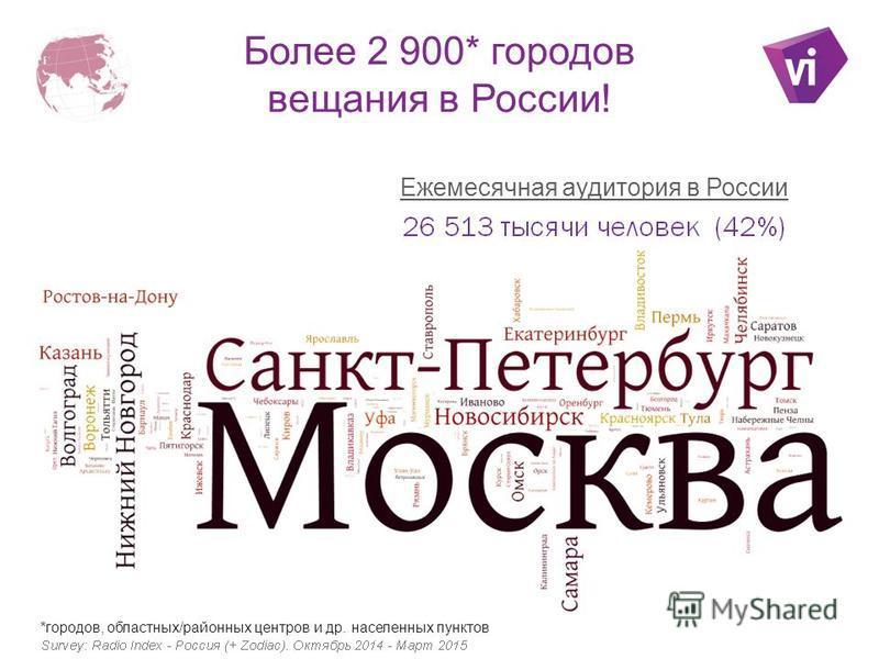 Более 2 900* городов вещания в России! *городов, областных/районных центров и др. населенных пунктов Ежемесячная аудитория в России