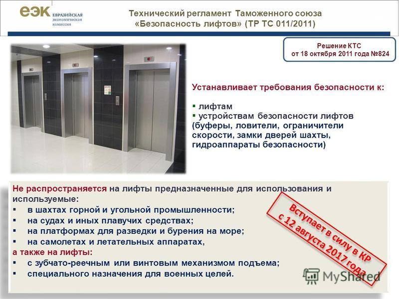 33 Технический регламент Таможенного союза «Безопасность лифтов» (ТР ТС 011/2011) Устанавливает требования безопасности к: лифтам устройствам безопасности лифтов (буферы, ловители, ограничители скорости, замки дверей шахты, гидроаппараты безопасности