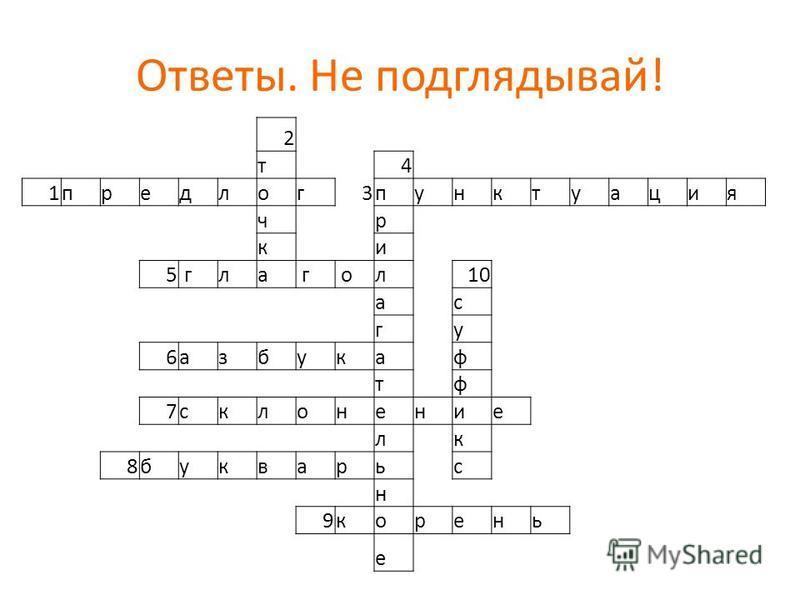 Кроссворд по русском языку для 6 класса
