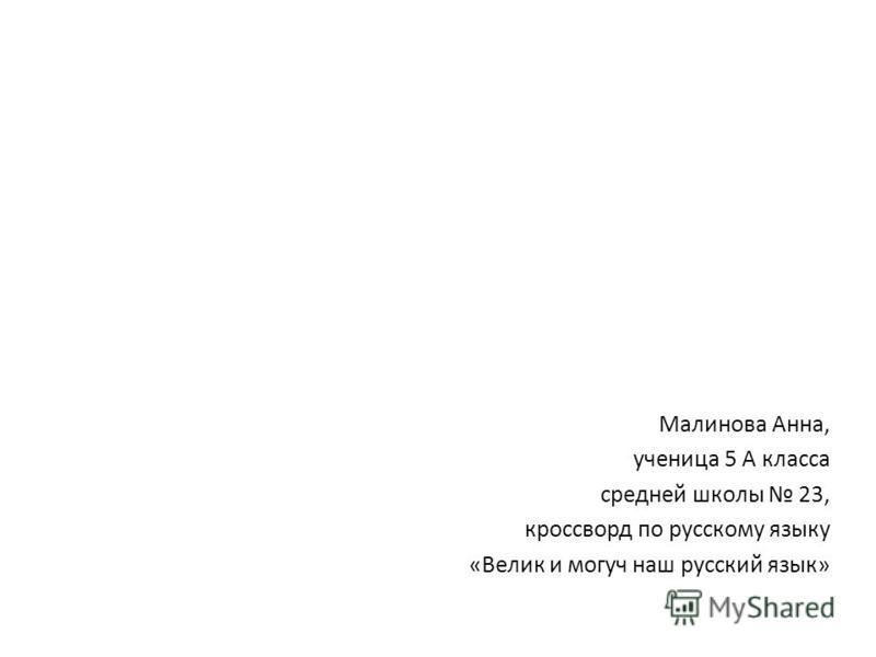 Малинова Анна, ученица 5 А класса средней школы 23, кроссворд по русскому языку «Велик и могуч наш русский язык»