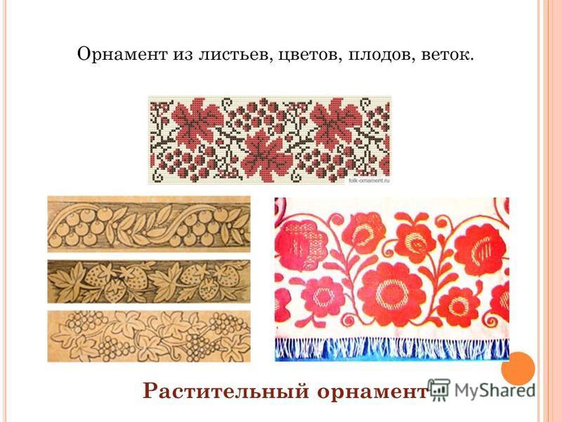 Орнамент из листьев, цветов, плодов, веток. Растительный орнамент