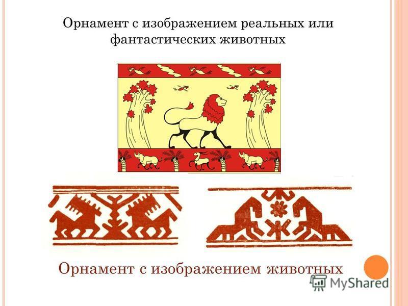 Орнамент с изображением реальных или фантастических животных Орнамент с изображением животных