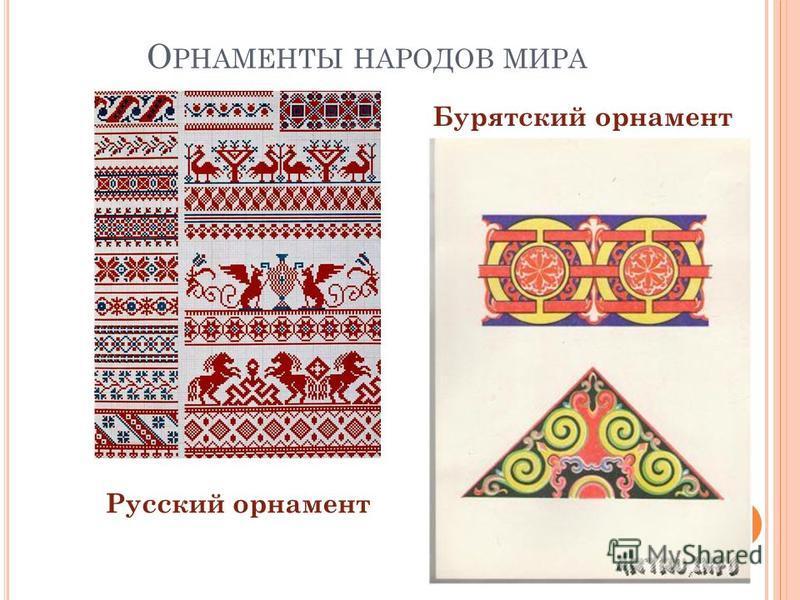 О РНАМЕНТЫ НАРОДОВ МИРА Русский орнамент Бурятский орнамент