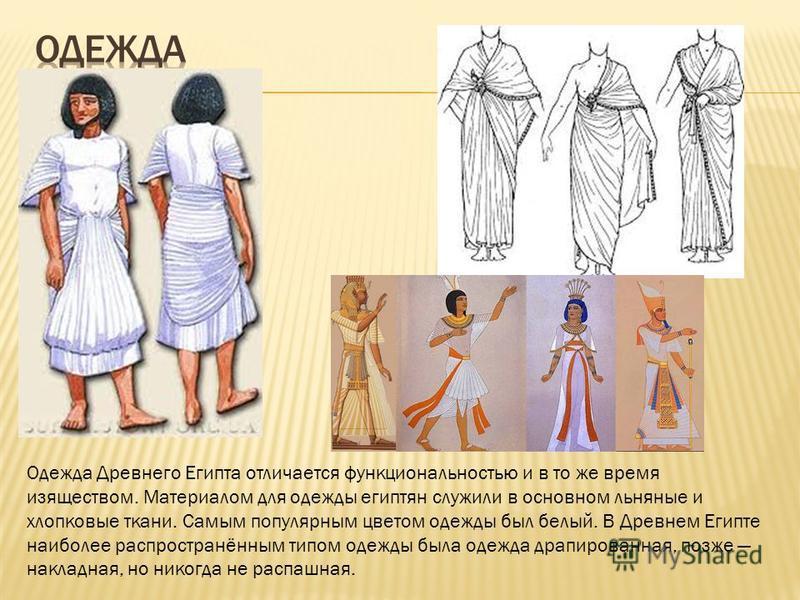 Одежда Древнего Египта отличается функциональностью и в то же время изяществом. Материалом для одежды египтян служили в основном льняные и хлопковые ткани. Самым популярным цветом одежды был белый. В Древнем Египте наиболее распространённым типом оде