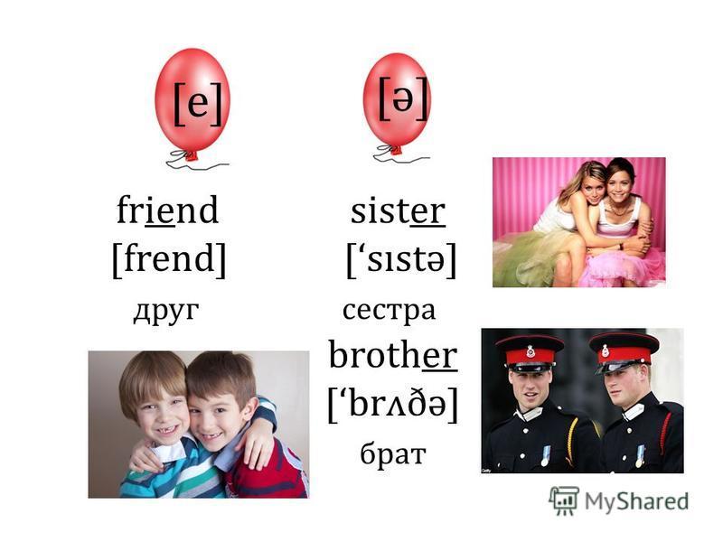 [e] [ə][ə] friend sister [frend] [sıstə] друг сестра brother [brʌðə] брат
