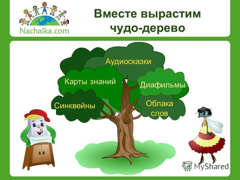 Вместе вырастим чудо-дерево Аудиосказки Диафильмы Синквейны Карты знаний Облака слов