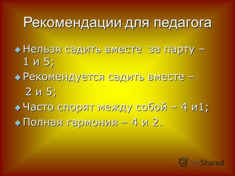 Рекомендации для педагога Нельзя садить вместе за парту – 1 и 5; Нельзя садить вместе за парту – 1 и 5; Рекомендуется садить вместе – Рекомендуется садить вместе – 2 и 5; 2 и 5; Часто спорят между собой – 4 и 1; Часто спорят между собой – 4 и 1; Полн