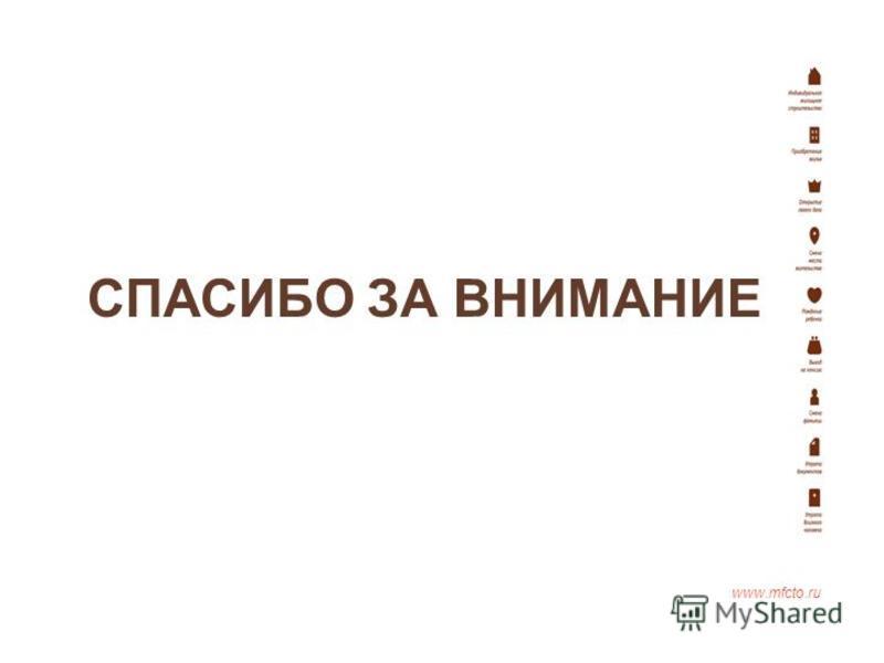 СПАСИБО ЗА ВНИМАНИЕ www.mfcto.ru