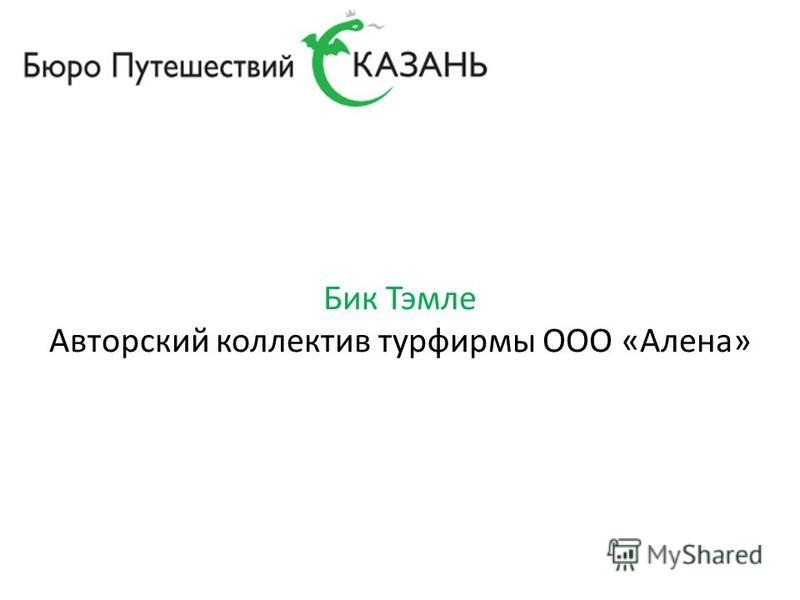 Бик Тэмле Авторский коллектив турфирмы ООО «Алена»