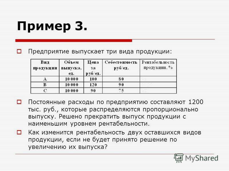 Пример 3. Предприятие выпускает три вида продукции: Постоянные расходы по предприятию составляют 1200 тыс. руб., которые распределяются пропорционально выпуску. Решено прекратить выпуск продукции с наименьшим уровнем рентабельности. Как изменится рен