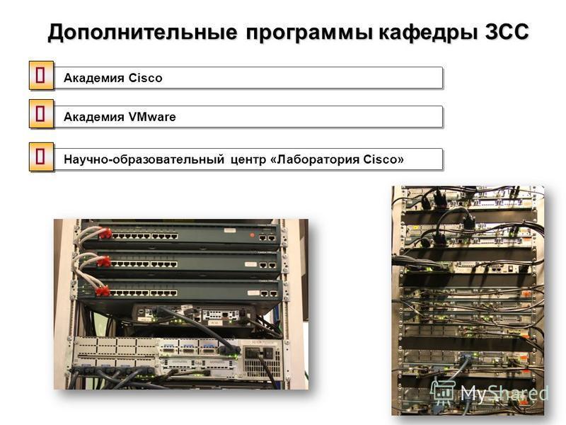 Дополнительные программы кафедры ЗСС Академия Cisco Научно-образовательный центр «Лаборатория Cisco» Академия VMware