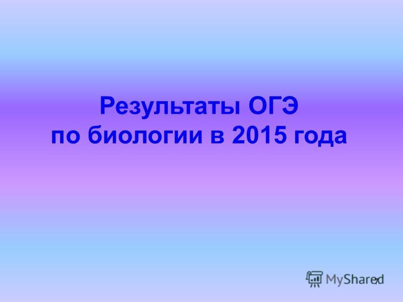 7 Результаты ОГЭ по биологии в 2015 года