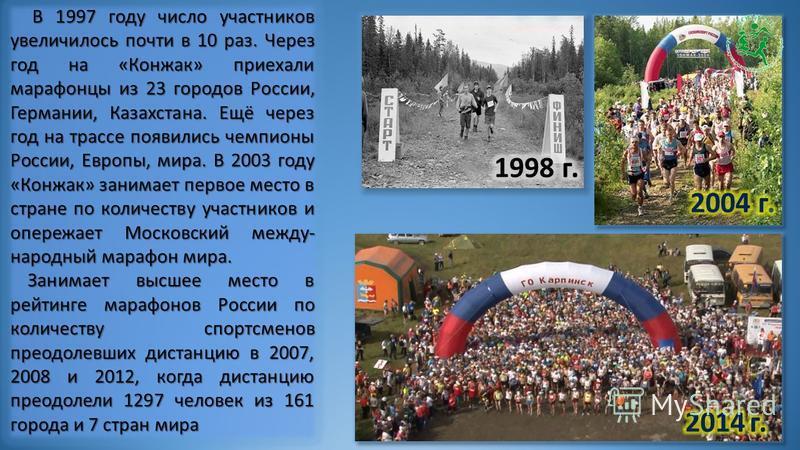 Первый марафон прошёл в 1996 г., в нём приняли участие 14 человек – простые краснотурьинцы, влюблённые в горы, спорт и романтику. Первый марафон прошёл в 1996 г., в нём приняли участие 14 человек – простые краснотурьинцы, влюблённые в горы, спорт и р