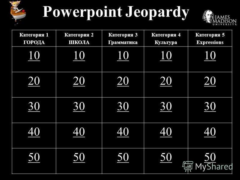 Powerpoint Jeopardy Категория 1 ГОРОДА Категория 2 ШКОЛА Категория 3 Грамматика Категория 4 Культура Категория 5 Expressions 10 20 30 40 50