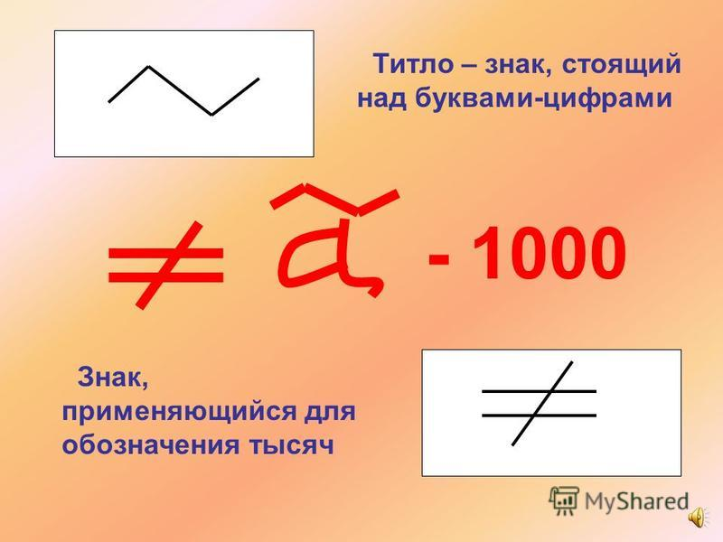 Титло – знак, стоящий над буквами-цифрами Знак, применяющийся для обозначения тысяч - 1000