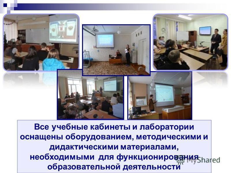 Все учебные кабинеты и лаборатории оснащены оборудованием, методическими и дидактическими материалами, необходимыми для функционирования образовательной деятельности