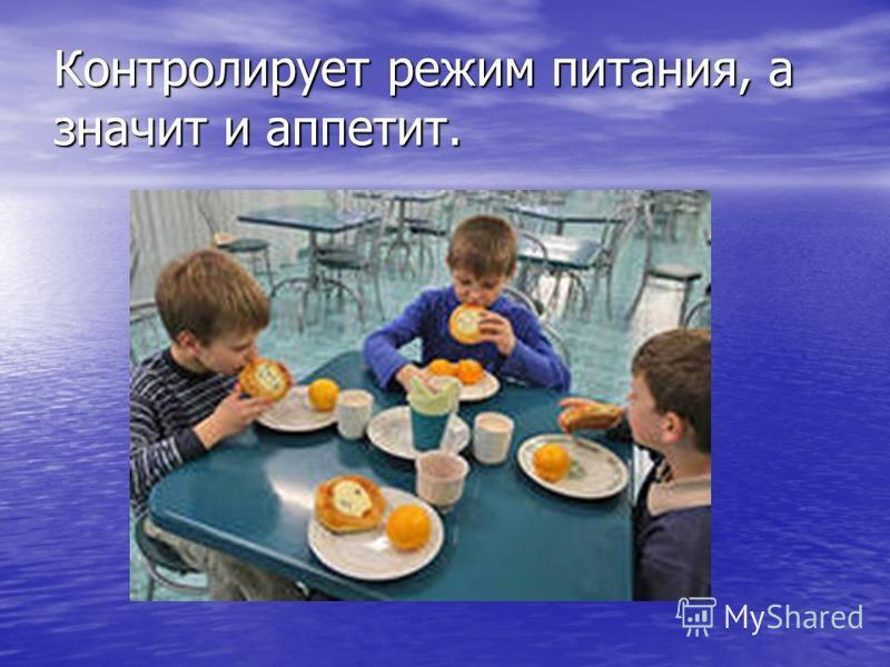 Контролирует режим питания, а значит и аппетит.