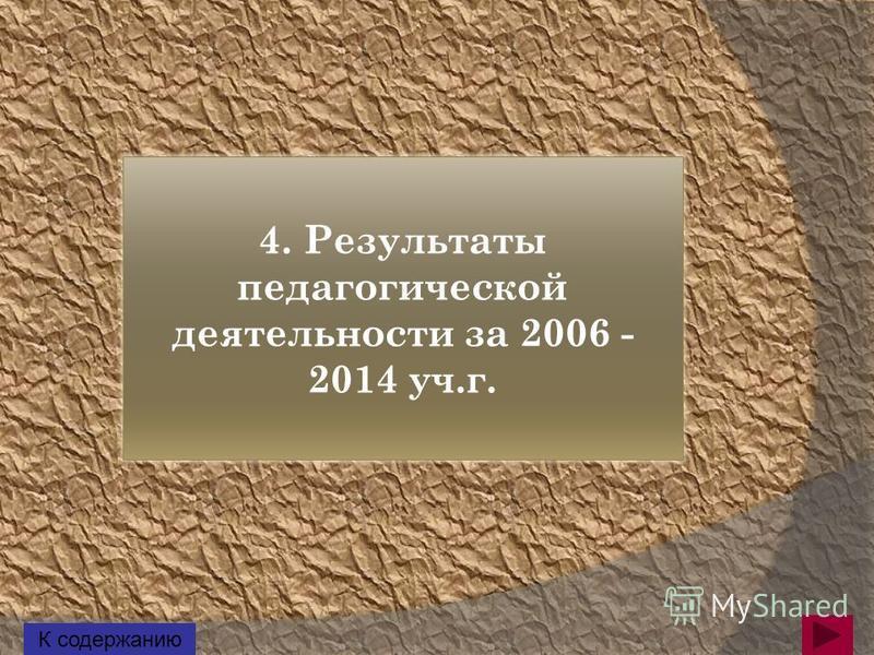 4. Результаты педагогической деятельности за 2006 - 2014 уч.г. К содержанию