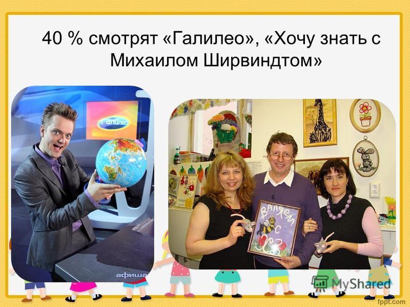 40 % смотрят «Галилео», «Хочу знать с Михаилом Ширвиндтом»