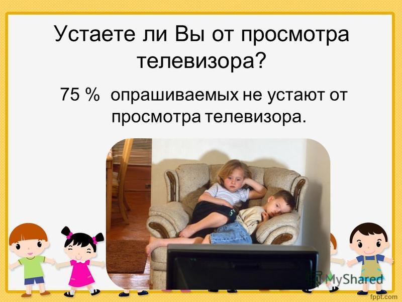 Устаете ли Вы от просмотра телевизора? 75 % опрашиваемых не устают от просмотра телевизора.