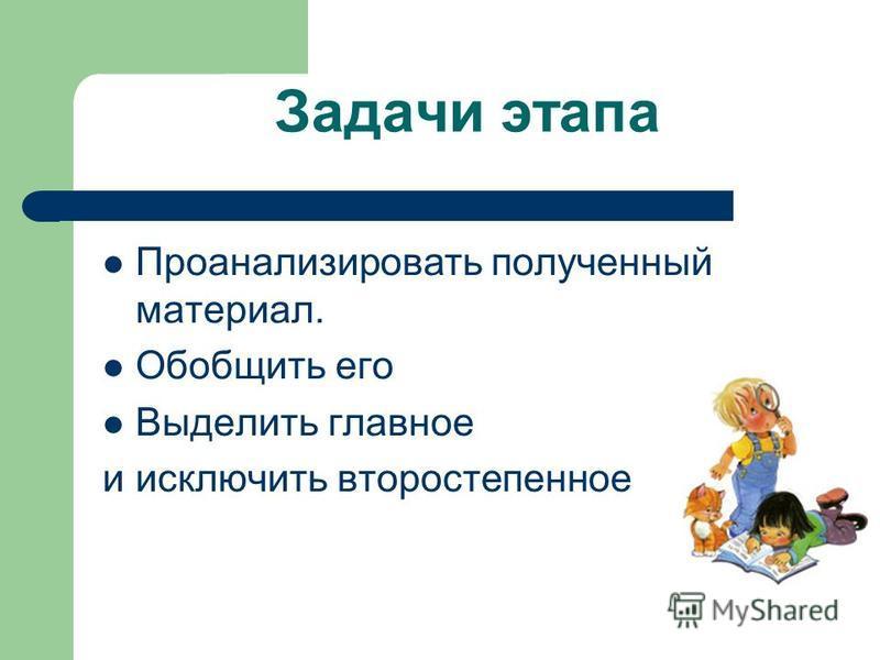 Задачи этапа Проанализировать полученный материал. Обобщить его Выделить главное и исключить второстепенное