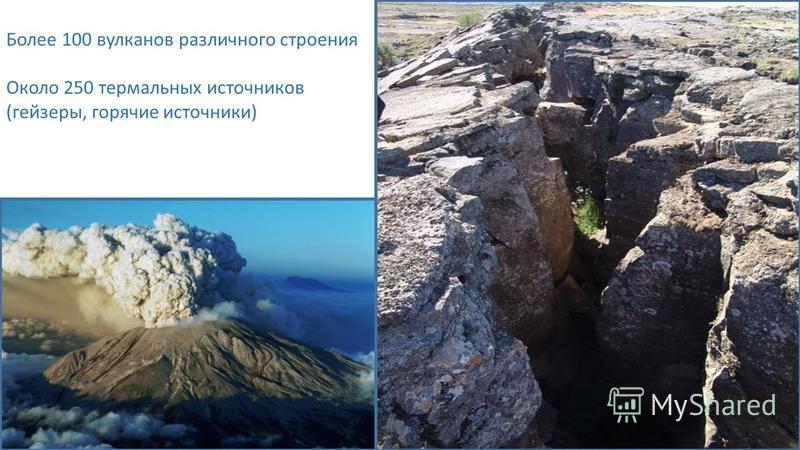 Более 100 вулканов различного строения Около 250 термальных источников (геизеры, горячие источники)