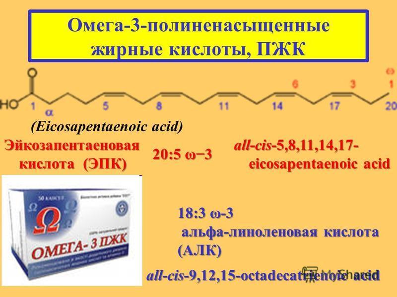 Омега-3-полиненасыщенные жирные кислоты, ПЖК (Eicosapentaenoic acid) Эйкозапентаеновая кислота (ЭПК) 20:5 ω3 all-cis-5,8,11,14,17- eicosapentaenoic acid 18:3 ω-3 альфа-линоленовая кислота (АЛК) альфа-линоленовая кислота (АЛК) all-cis-9,12,15-octadeca