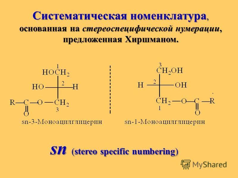 Систематическая номенклатура, основанная на стереоспецифической нумерации, предложенная Хиршманом. sn (stereo specific numbering)