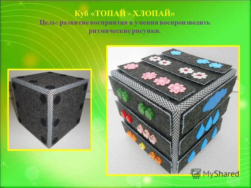 Куб «ТОПАЙ - ХЛОПАЙ» Цель: развитие восприятия и умения воспроизводить ритмические рисунки.