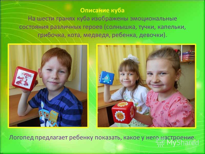 Логопед предлагает ребенку показать, какое у него настроение. Описание куба На шести гранях куба изображены эмоциональные состояния различных героев (солнышка, тучки, капельки, грибочка, кота, медведя, ребенка, девочки).